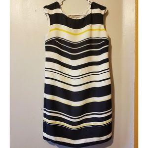 Sleeveless White and Black Striped Dress LOFT